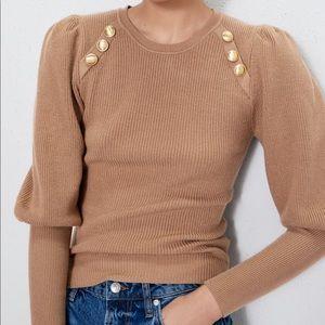 Zara Sweaters - Zara Tan Gold Button Puff Sleeve Sweater